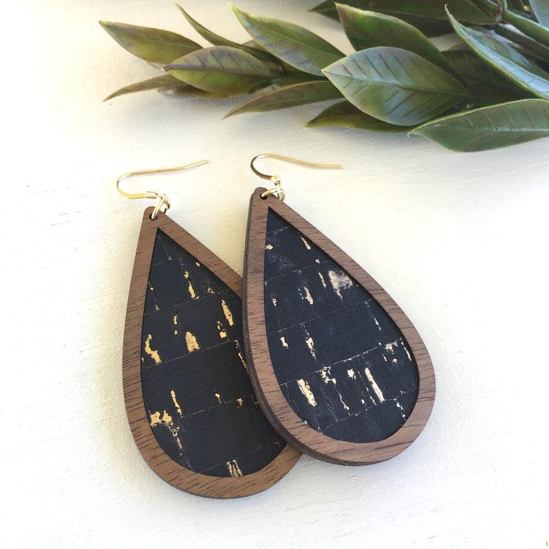 9fcbb89bb Black with Gold Flecks Wood Cork Teardrop Earrings Cork | Etsy
