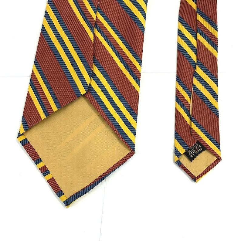 Vintage Retro Wide Red Blue Yellow Striped Men\u2019s Polyester Tie 4 12\u2033 x 58\u2033