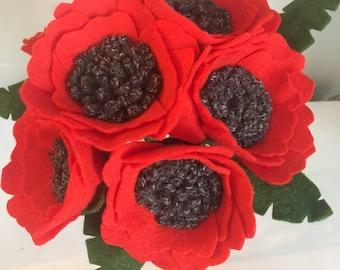 Wool felt poppies, felt flowers, felt flower bouquet, poppy bouquet, poppies