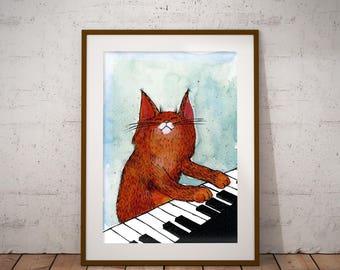 Cat Print Piano PosterNursery Drawingwatercolor Poster Kids Room Girlplayroom Decorbaby Roomanimal Printcat Art