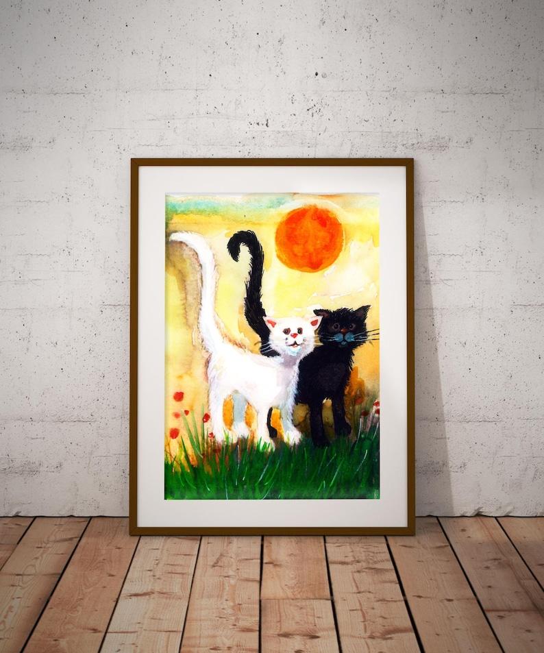 Drukowanie 2 Koty Kot Plakat Ręcznie Robione Sztuka Drukowania Rysunek Koty W Miłości Kot Rysunek Plakat Love Cats Druk Kot Prezent Koty