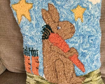 Hand Hooked wool pillow Easter Bunny