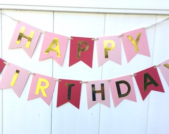 Ombre Birthday Banner, Happy Birthday Banner, First Birthday banner, Pink and Gold Birthday, Pink Ombre Birthday