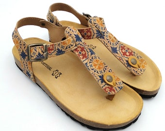 Portuguese tiles pattern cork and leather ankle sandal summer fashion beach  sandals holiday sandals handmade Portuguese leather 91-C 6e1f6fc4954f