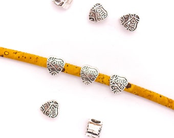 Qty 4 Z5217 Silver On Sale Now Zamak Heart Spacer Beads For Up To 1.8mm Round Leather Cord
