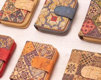 Color Cork mix pattern women zipper card vegan wallet BAGD-195