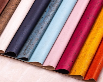 Cork leather natural Portugal cork fabric vegan leather textile sheet Liège Kork Rustic cork colors sheets