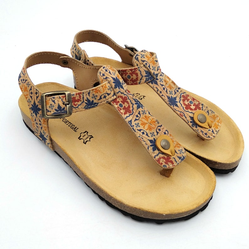 Natural Toe post cork and leather sandal summer fashion beach sandals holiday sandals handmade Portuguese leather 91-N