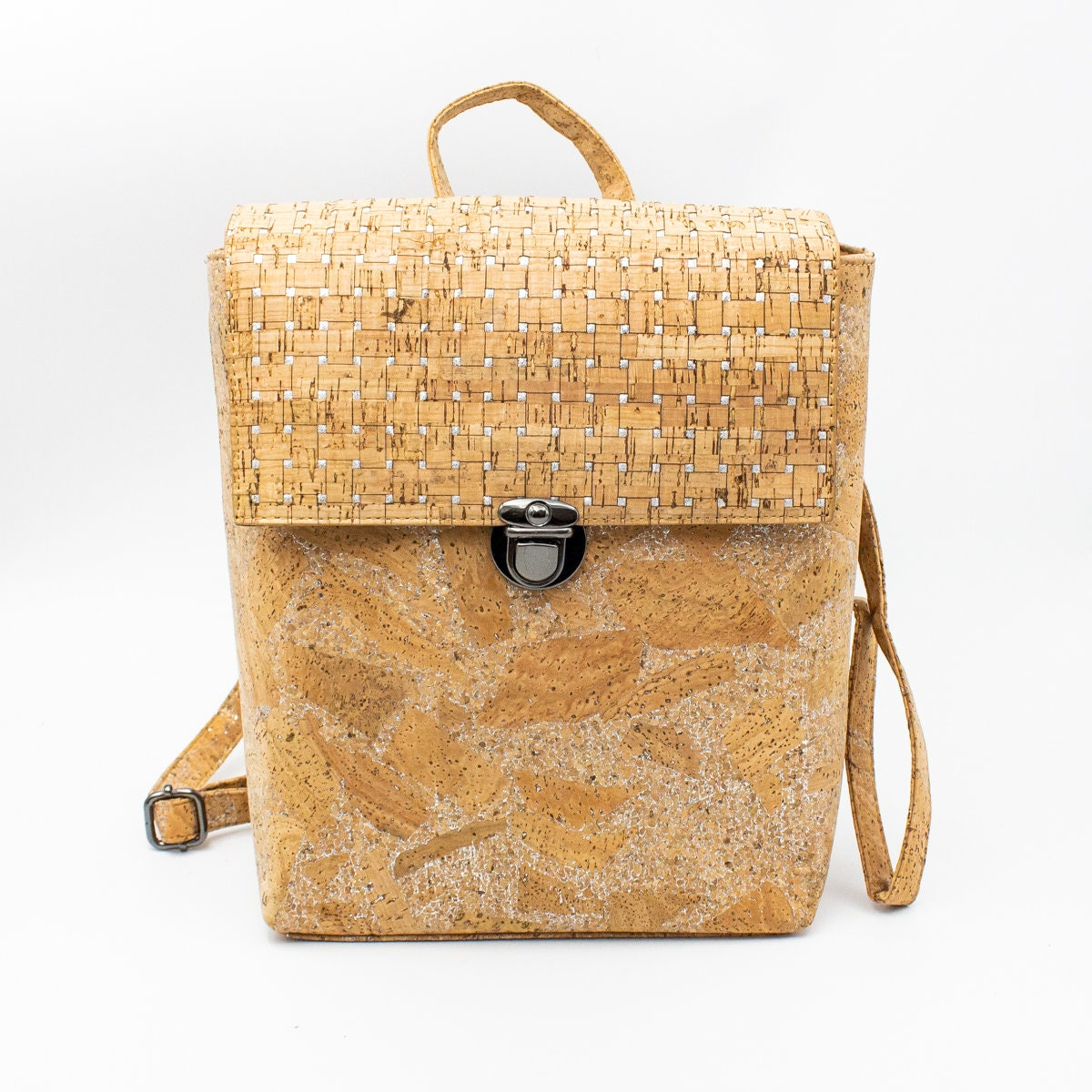 Cork Handbags: Cork Bags Cork Backpack For Women Natural Cork With Silver
