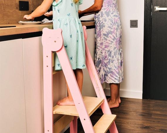Space Saving Kitchen Step Stool, Toddler Kitchen Step Stool, Montessori Kitchen Helper, Foldable Kitchen Tower, Learning Kitchen Stool
