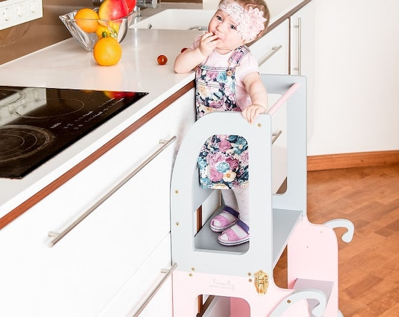 Little princes kitchen step stool for toddler/table and stool all in one