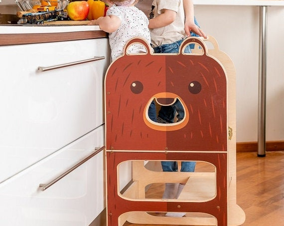 Kitchen step stool ,kitchen tower for TWO, step stool for children, table and chair.
