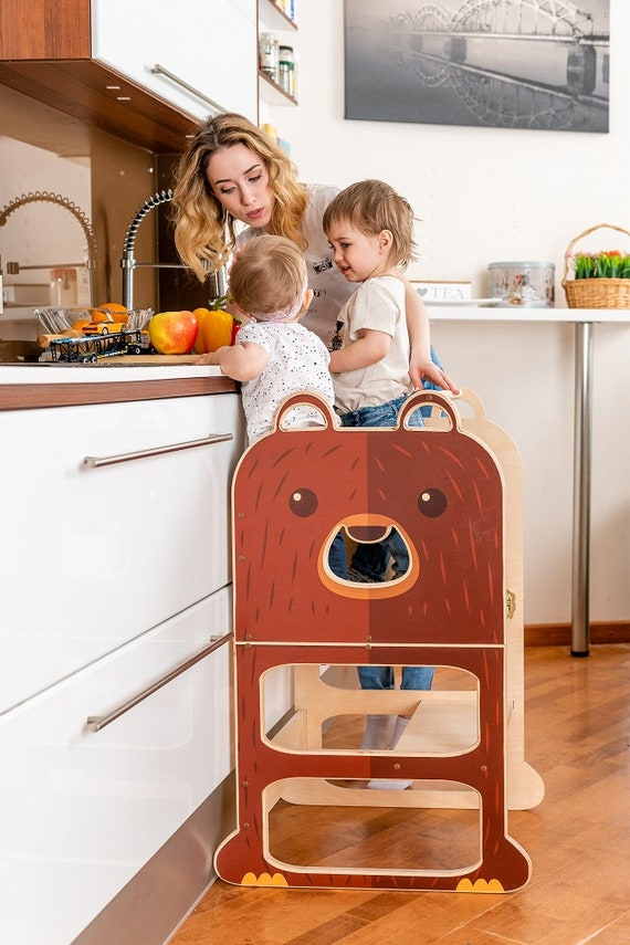 Kitchen helper for TWO ''Lovely Teddy Bear'' , step stool for children, table and chair.