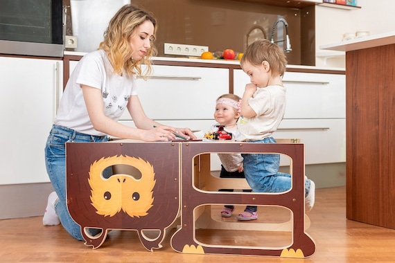 Step stool for two ''Wise Monkey'', step stool, table and chair.