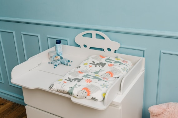 Charming car and stork changing top, changing table top for IKEA dressers, Shelf and changing table – all in one, Changing table dresser
