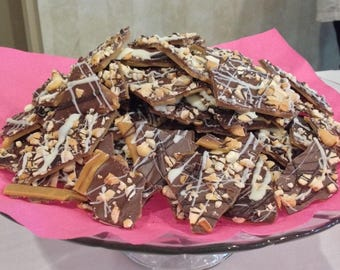 Almond Toffee, Chocolate, Nuts, Gourmet, Sweet and Salty, Cashews, Hand Made, Small Batch, Tasty Treat,English Toffee, Toffee,