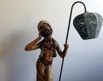 Lamp Figure polychrome plaster years 70. Vintage Lamp. Old figure. Ambient light. Nice lighting.