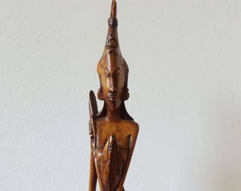 Balinese wooden sculpture female PRIESTESS years 40. Tribal sculpture. Antique carved wood sculpture. Sculpture Bali.