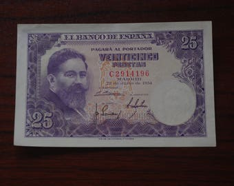 25 pesetas from 1954 ticket. Uncirculated. Iron. Vintage ticket. Spanish old ticket. Notaphily. Collecting.