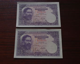 Lot of 2 consecutive notes of 25 pesetas from 1954. Uncirculated. Iron. Vintage tickets. Spanish old banknotes. Notaphily.