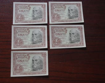 Lot 5 consecutive notes of 1 PESETA from 1953. Uncirculated. Iron. Antique Vintage tickets ticket Spanish collecting Notaphily