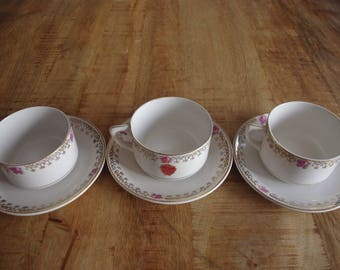 "Lot of 3 cups of breakfast ""LA ASTURIANA"" brand. Vintage cups. White porcelain. Cups and bowls and old seal."