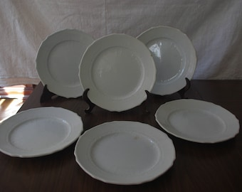 Lot of 6 plates with relief the Charterhouse Pickman Chinese 19th century opaque. Vintage dishes. Antique dishes. White porcelain. Plates collection.