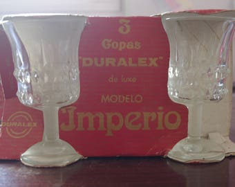 Lot of 6 glasses, series Empire of Duralex years 70 Vintage. In their original boxes. Vintage glasses. Antique goblets glasses transparent glass