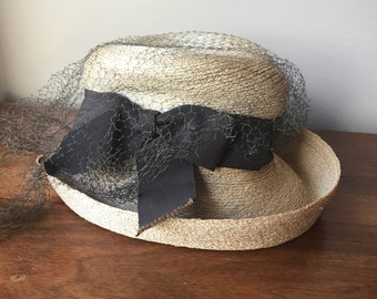 be0888f8 Evelyn Varon Straw Hat, Brown Ribbon Natural Straw Hat, Childrens Netted Straw  Hat,