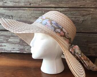 68cea7cb Vintage Sun Hat, Large Brimmed Hat, Summer Hat, Woven, Floral Band