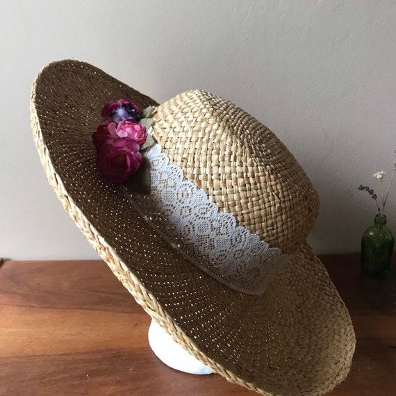 Straw Sun Hat, Floral Beach Hat, Summer Hat, Gard… - image 6