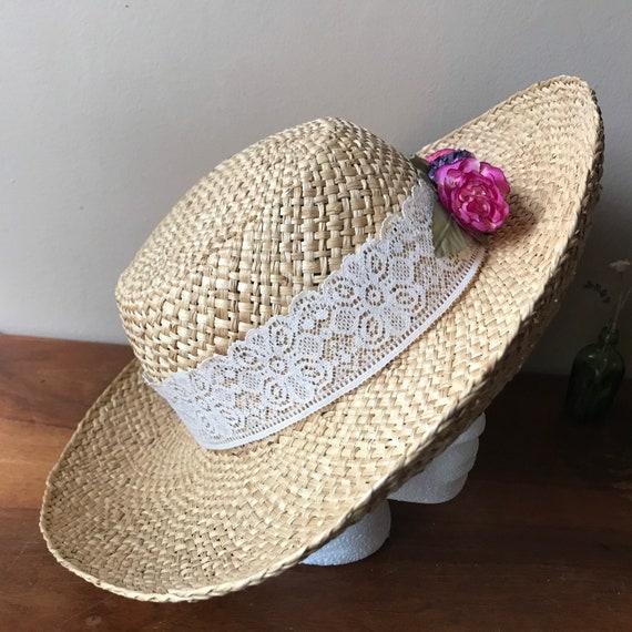Straw Sun Hat, Floral Beach Hat, Summer Hat, Gard… - image 5