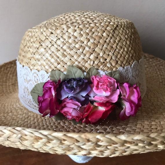 Straw Sun Hat, Floral Beach Hat, Summer Hat, Gard… - image 1