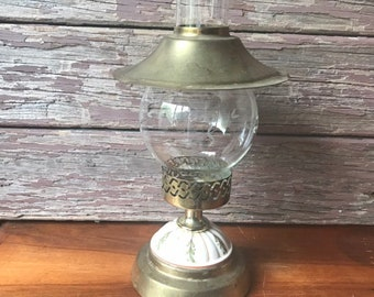 Vintage Hurricane Candle Holder, Ceramic Brass Lighting, Farmhouse Decor, Cottagecore