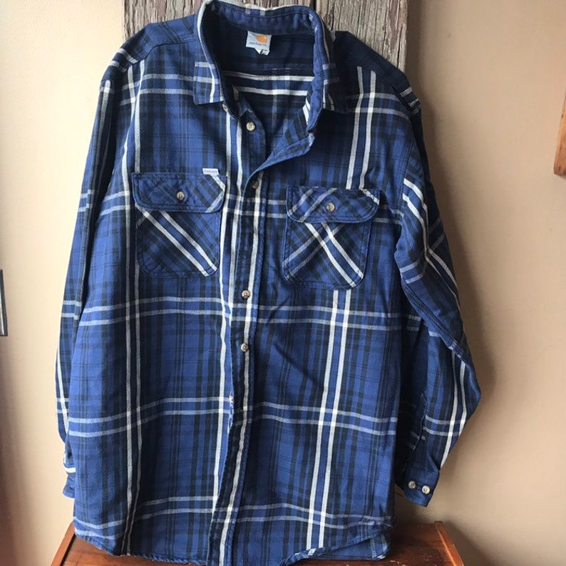 Vintage Carhart Blue Flannel Shirt Size Large Tall Mens Etsy