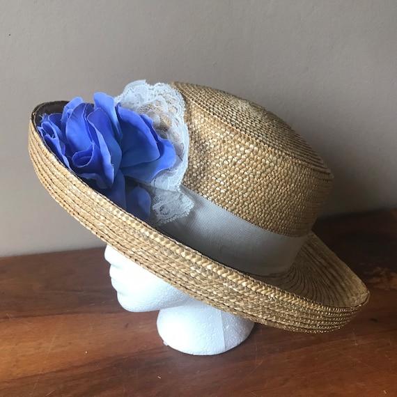 Straw Boater Hat, Beach Hat, Summer Hat, Garden H… - image 1