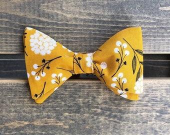 fdb2a6ae1d3f Mustard Floral Bow Tie / Mens bow tie / Self tie bow tie / Floral bow tie /  Adjustable bow tie / Wedding tie / Yellow Bow Tie