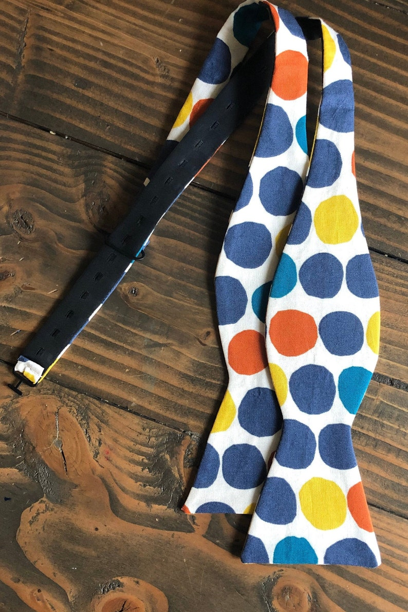 Bold Polka Dot Bow Tie  Adjustable Bow Tie  Self Tie Bow Tie