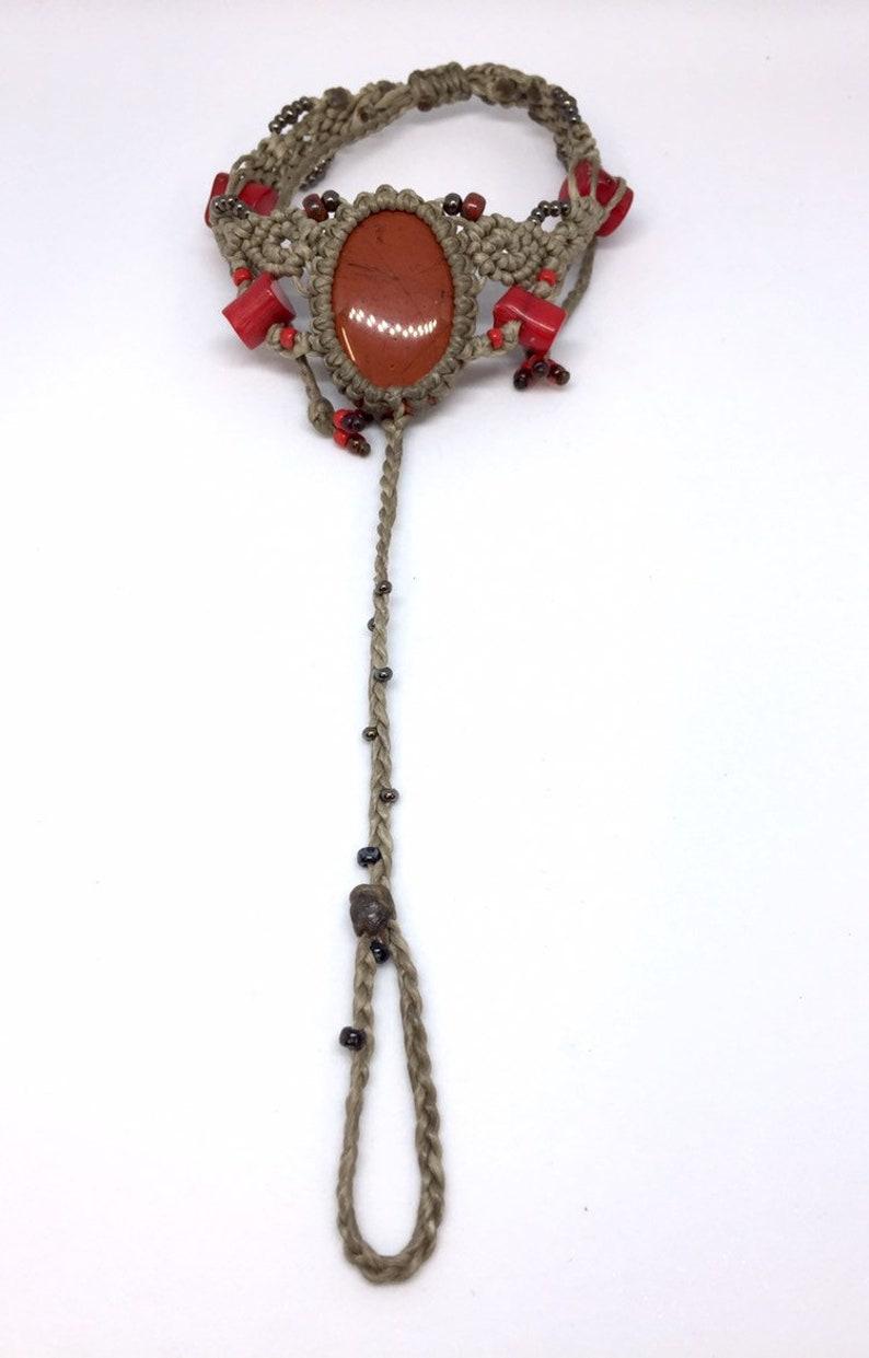 Red jasper ankle amulet