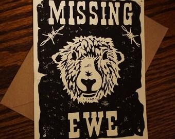 Greeting card MISSING EWE