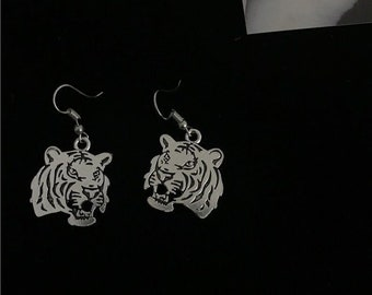 Hypoallergenic Silver Roaring Tiger Earrings French Hook- THEY ROAR!
