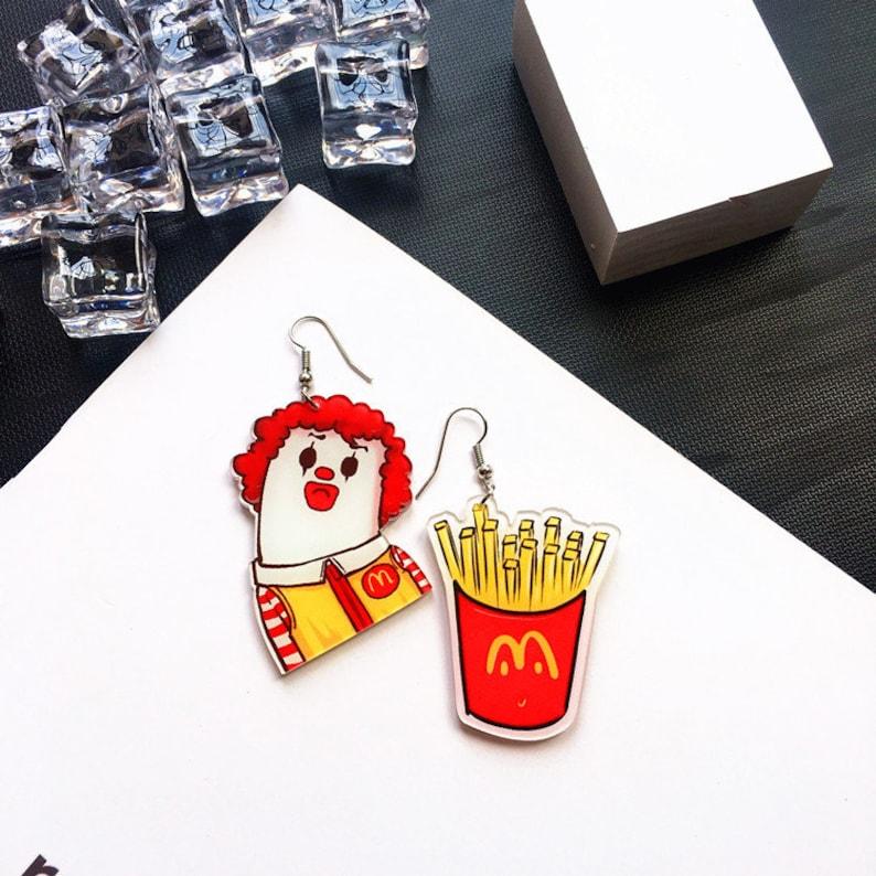 Funny Quirky MacDonald Kenturkey Burger Chip Light Earrings We are big family!!