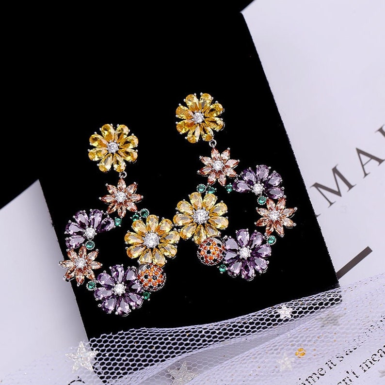 Beauty of Luxuriant Flowers!! Dazzle Yellow Purple Orange Flowers Cubic Zirconic Zircon Gemstone Earrings Annual Dinner Christmas Party-
