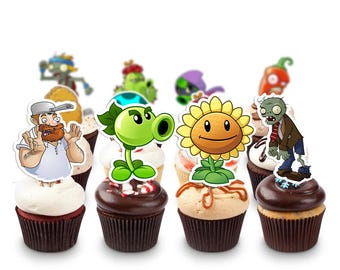 Plants Vs Zombies Pack Printable Cupcake Topper Birthday Party