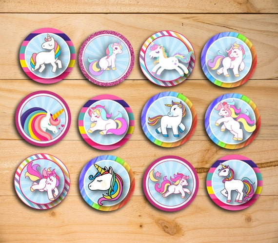 Unicorn Printable Cupcake Topper Unicorn Party Supplies Etsy