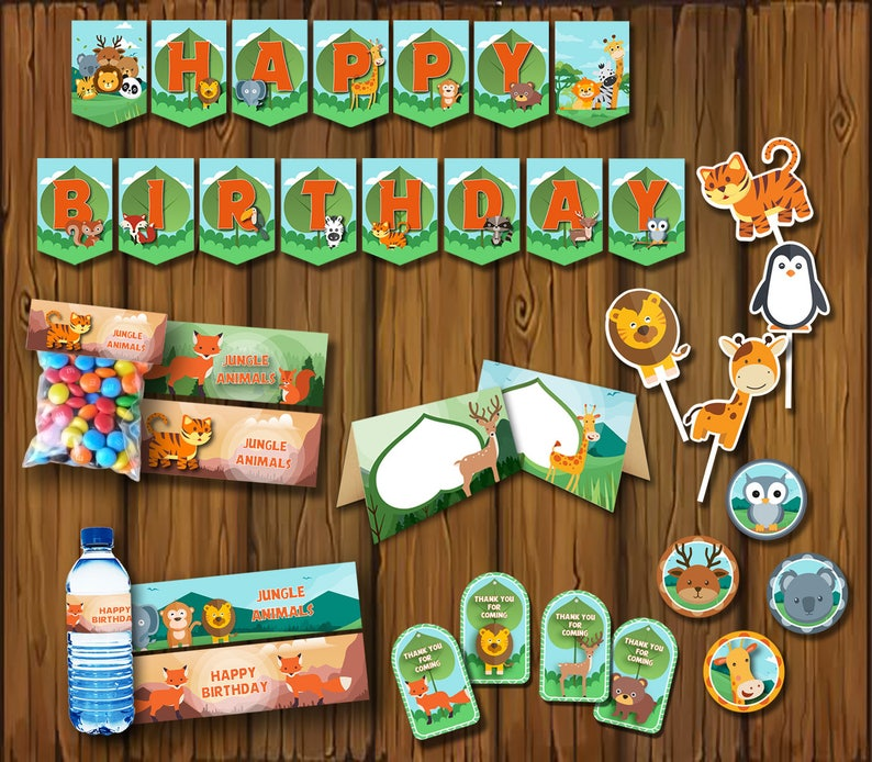 Safari Birthday Party Package Decorations Jungle Zoo Digital File