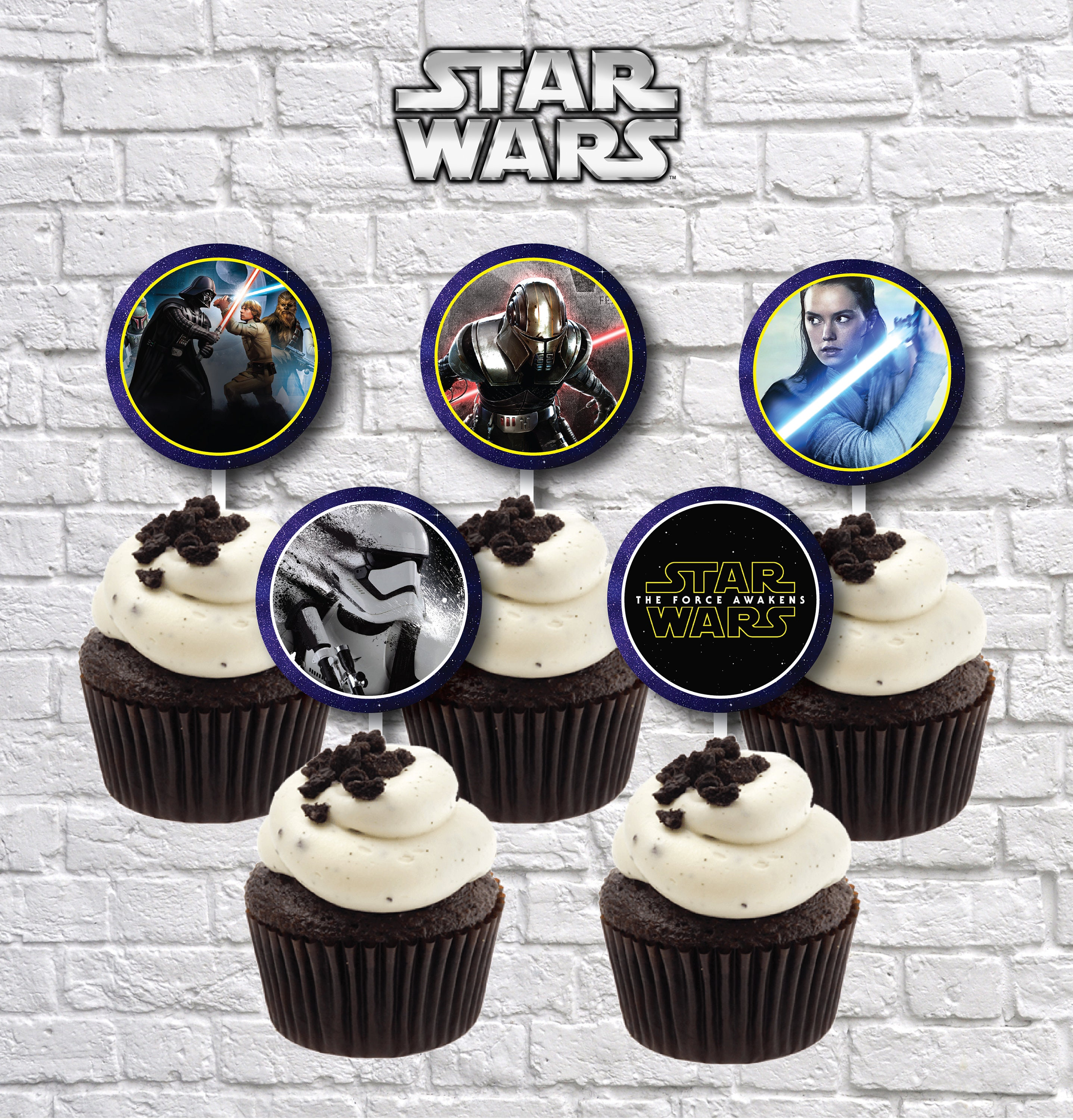 Incredible Star Wars Printable Cupcake Topper Star Wars Party Supplies Etsy Personalised Birthday Cards Fashionlily Jamesorg