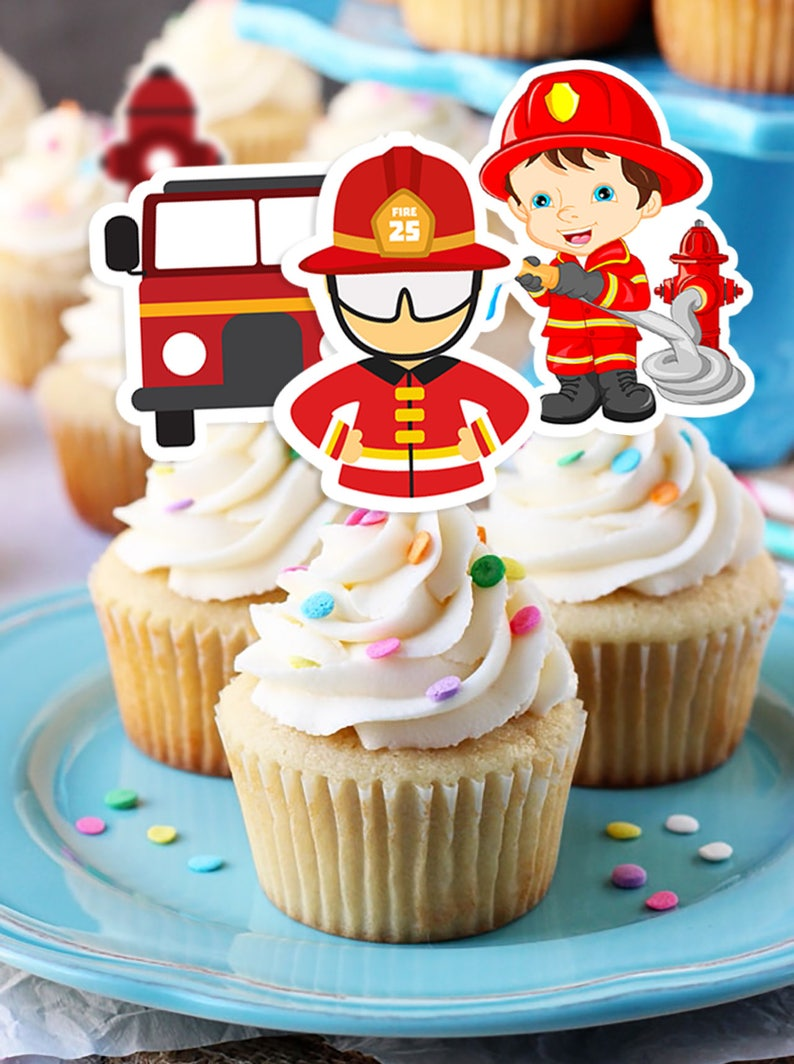 Firefighter Cupcake Toppers Firefighter Printable Cupcake Etsy