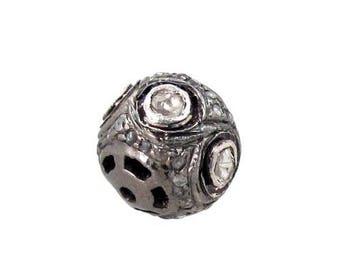 92.5 Sterling Silver Pave Diamond rosecut diamond bead ball finding jewelry