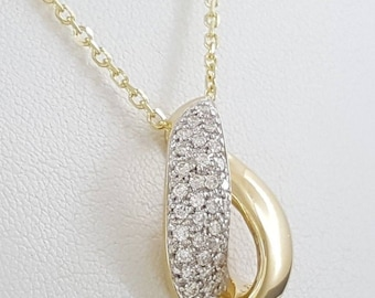 14k Gold 92.5 Sterling Silver Pave Setting Natural Diamond Beautiful women pendant whit diamond gold silver glamour look pendant